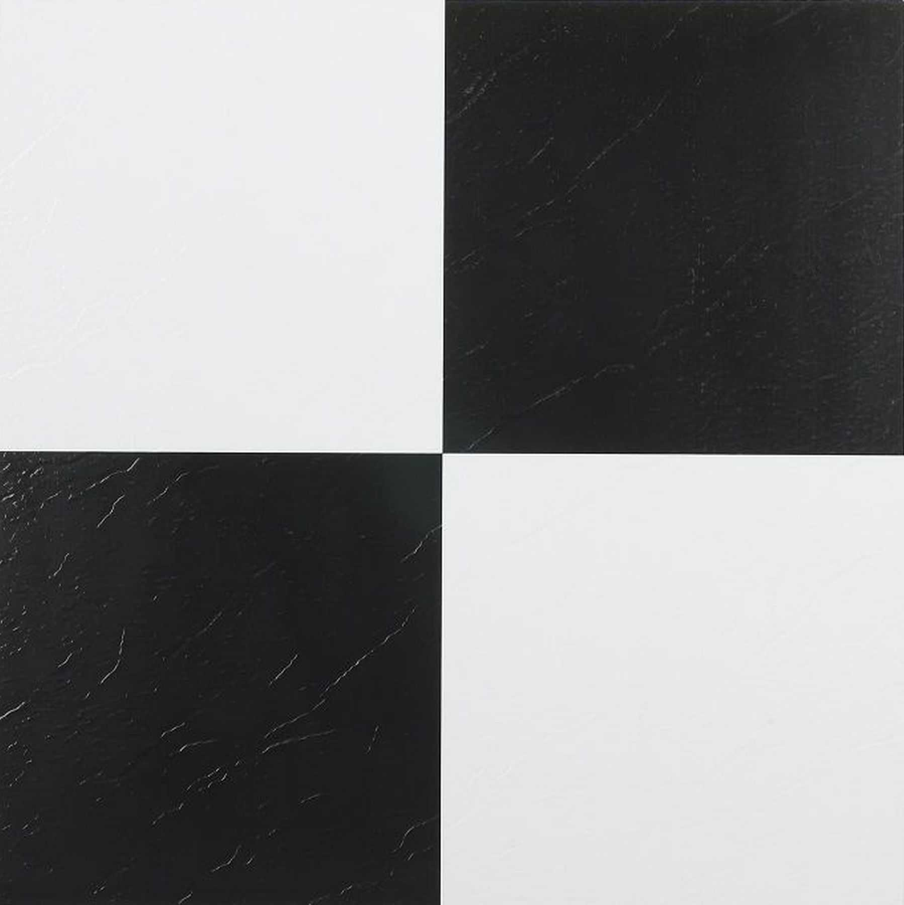 Traditional Elegance 5th Avenue Collection Black & White 12x12 Self Adhesive Vinyl Floor Tile - 45 Tiles/45 sq. Ft