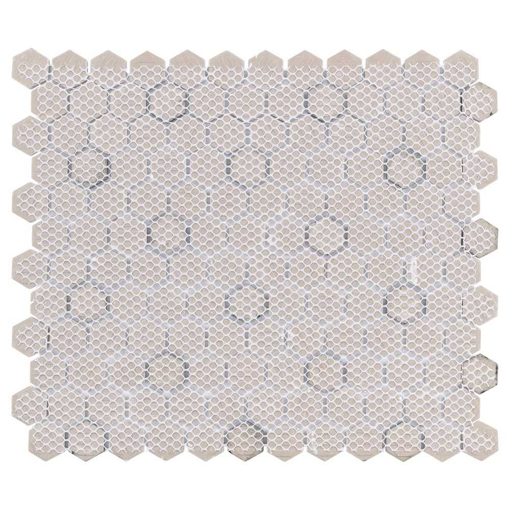 somertile fxlmhwbd retro hexagon porcelain mosaic floor and wall tile, 10.25' x 11.75', white with black dot