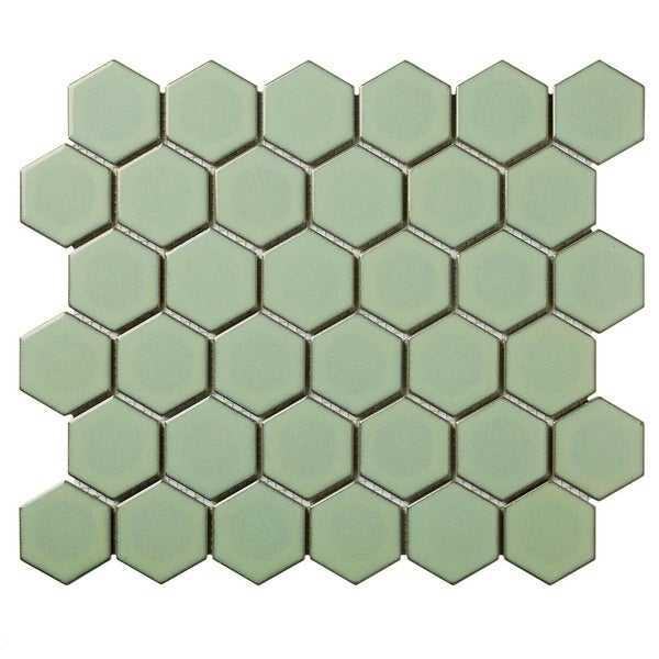 Barcelona Hexagon Glazed Porcelain Mosaic Tile Glossy Green With Retro Edge (Case of 10 sheets / 10 sq. ft.)