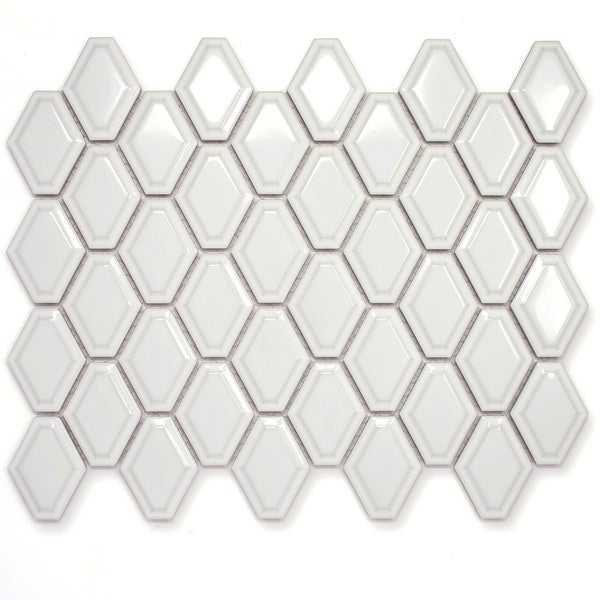 TileGen. Diamond 3' x 3' Porcelain Mosaic Tile in White Floor and Wall Tile (11 sheets/9.35sqft.)