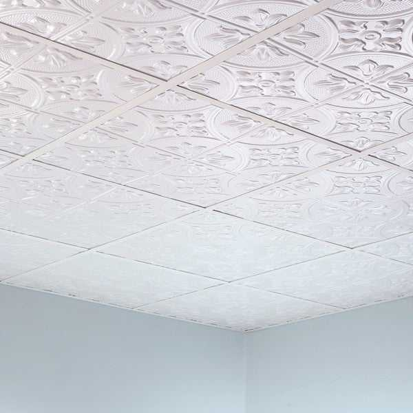 Fasade Traditional Style #2 Matte White 2-foot x 2-foot Lay-in Ceiling Tile