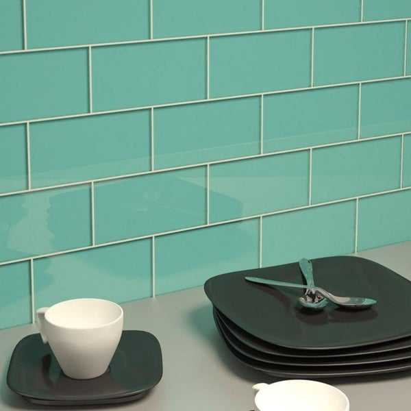 Teal Subway Tiles (5.5 Square Feet) (44 Pieces per Unit)