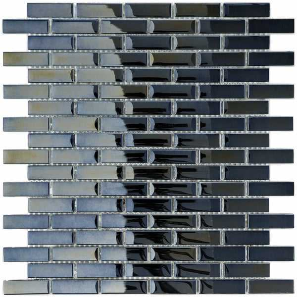 SomerTile 10.75x11.75-inch Obsidian Subway Mirror Glass Mosaic Wall Tile (10 tiles/8.8 sqft.)