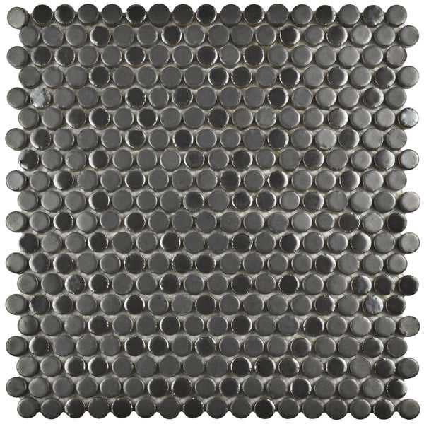 SomerTile 11.25x11.75-inch Asteroid Penny Round Silver Porcelain Mosaic Floor and Wall Tile (10 tiles/9.4 sqft.)