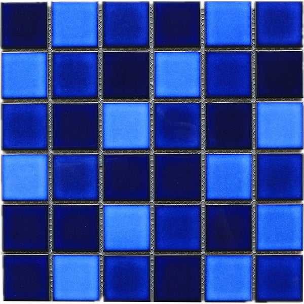 TileGen. Tropical Night 2' x 2' Porcelain Pool Tile in Blue Floor and Wall Tile (11 sheets/10.56sqft.)