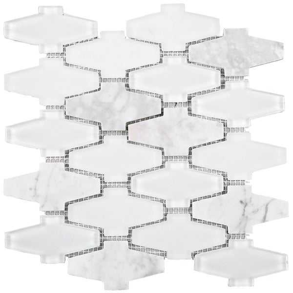 TileGen. Crossroads 3' x 3' Glass and Stone Mosaic Tile in White Wall Tile (10 sheets/7.7sqft.)