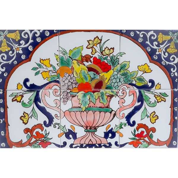 Art Fruit Basket 6 Ceramic Tile Mosaic Wall Mural Kitchen Backsplash